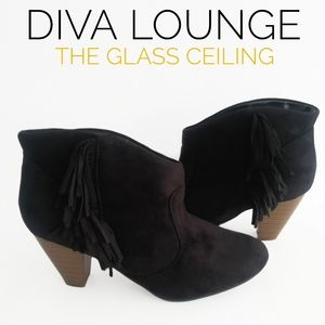 DIVA LOUNGE ANKLE FRINGED BOOTS SIZE 8